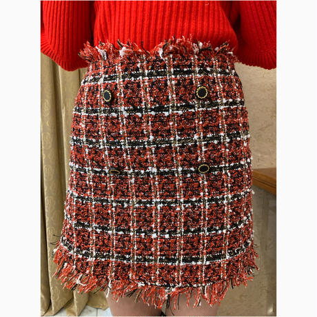 tweed  double  button mini skirt red