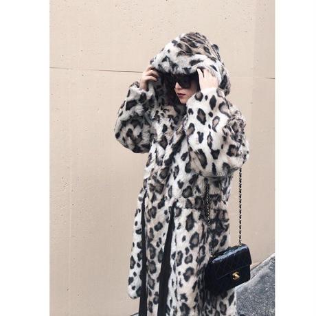 leopard gown fur coat