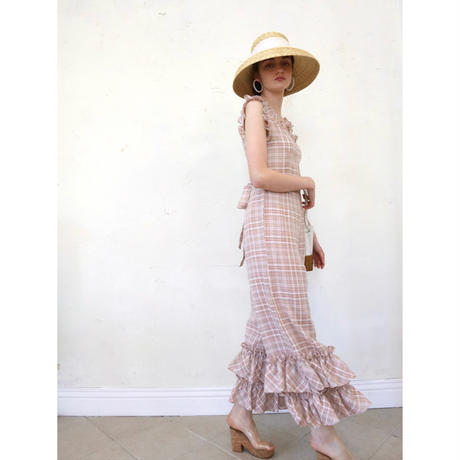 double frill check rompers beige