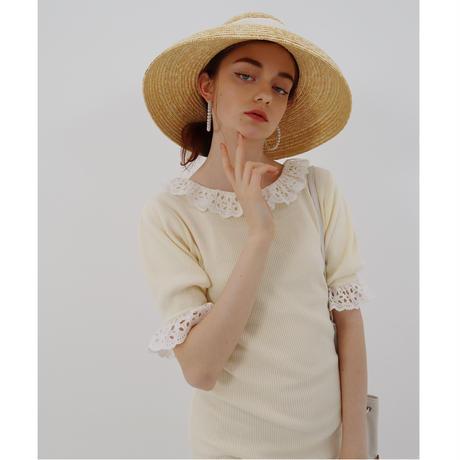 lace frill rib knit onepiece  ivory
