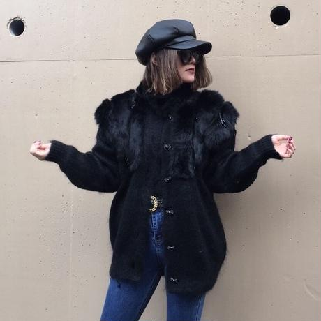 fur knit fringe coat