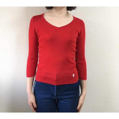 courrèges v neck tops red
