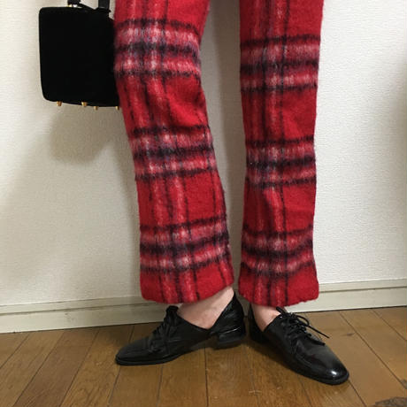 check design wool pants red