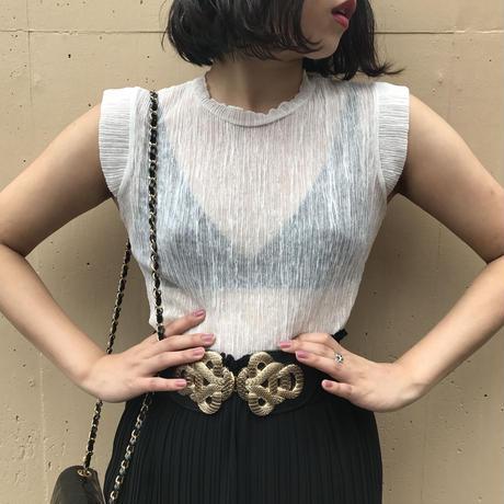 see-through pleats tops white
