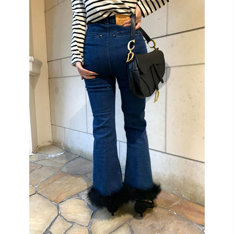 épine bell jeans blue×black feather fur
