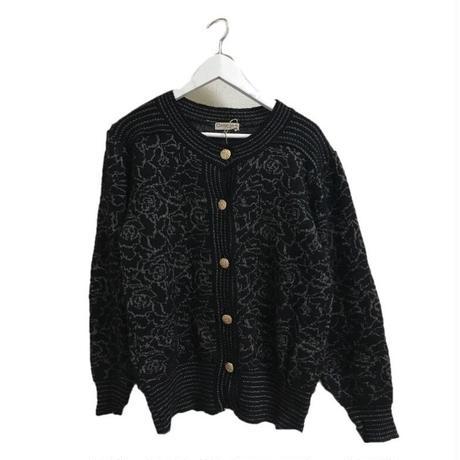 monotone  flower design knit cardigan