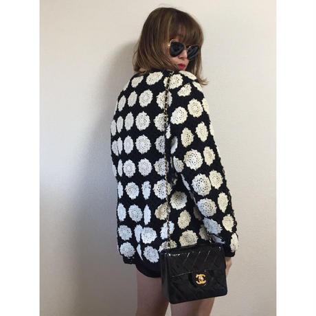 monotone patchwork design knit cardigan