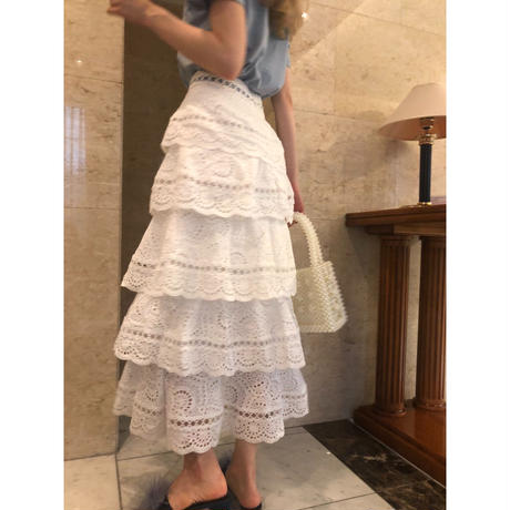 lace frill long skirt