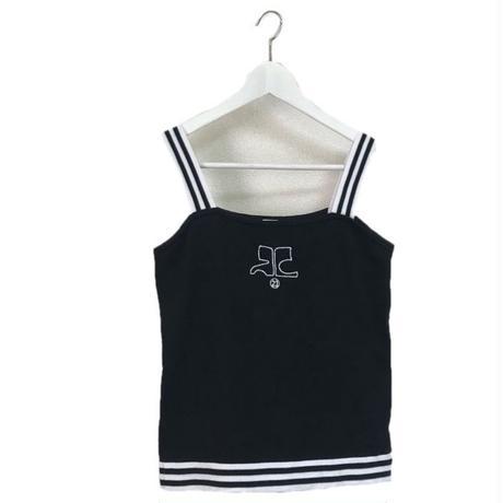 courreges bi color logo camisole