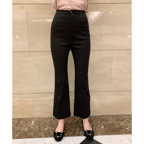 back slit pants black