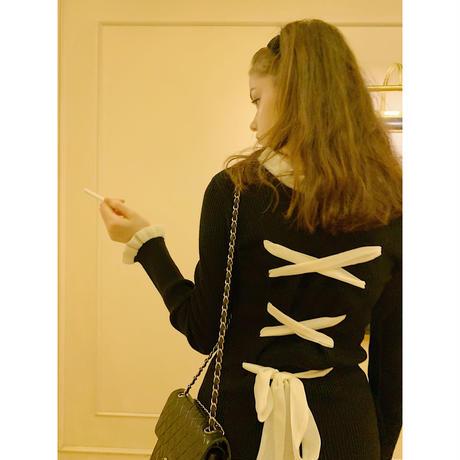 【Special price】lace up ribbon frill rib knit set up black