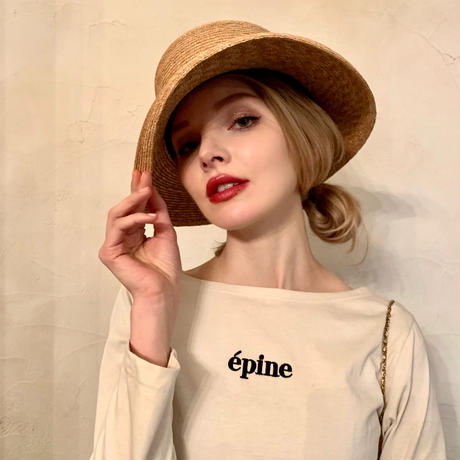 épine embroidery long tee white