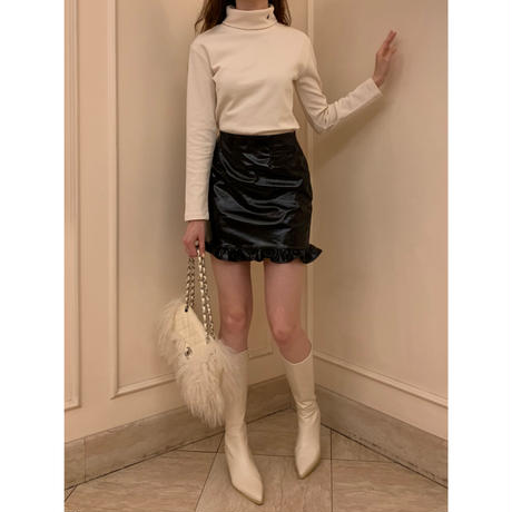 pvc frill mini skirt black