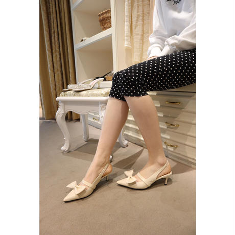 pointed ribbon  mule ivory