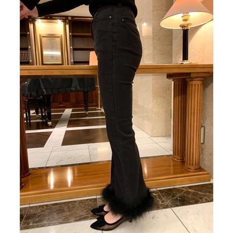 épine bell jeans black×black feather fur