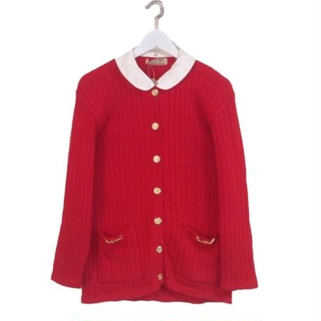 2way gold botton knit cardigan red