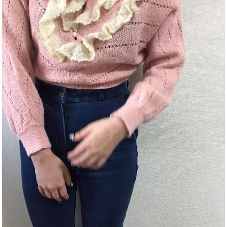 frill short knit pink