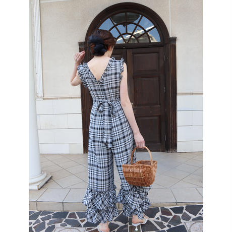 double frill check rompers black