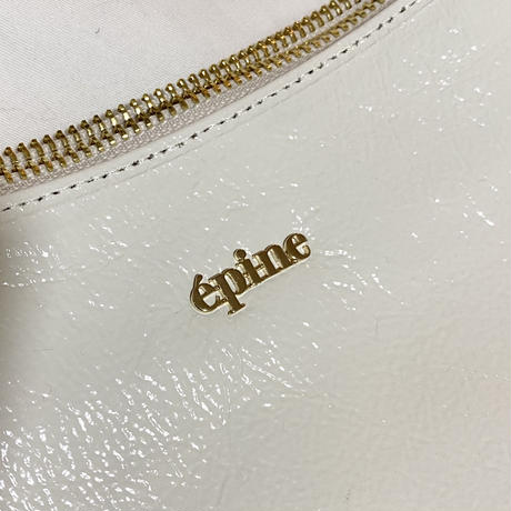 épine gold logo half moon bag white