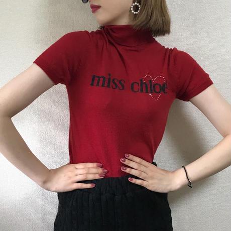 miss chloé logo design summer knit red