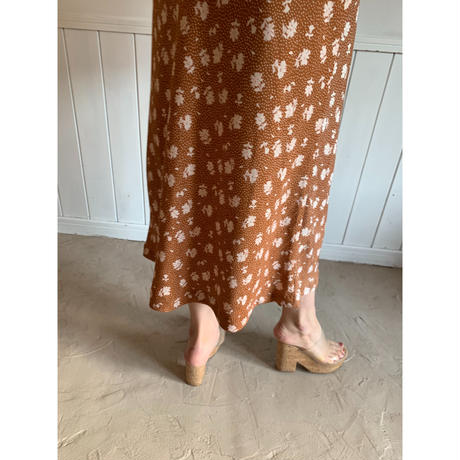 dot flower straight long skirt brown