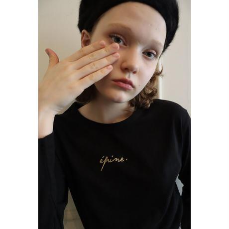 épine embroidery gold logo long tee black
