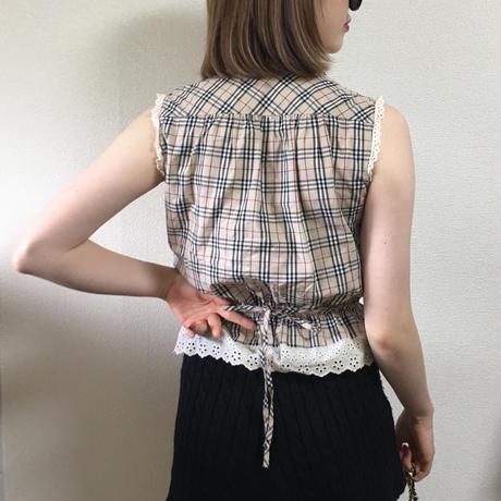 Burberry check design frill blouse