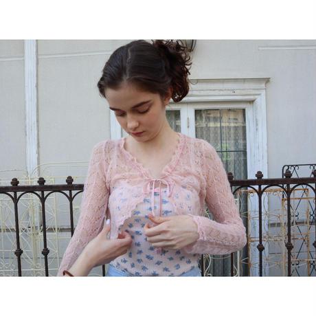 mohair low gauge ribbon cardigan baby pink
