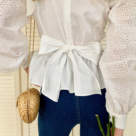 arm lace pepram blouse white