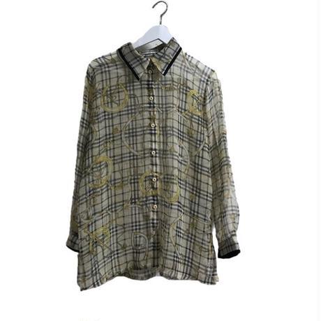 see-through check shirt