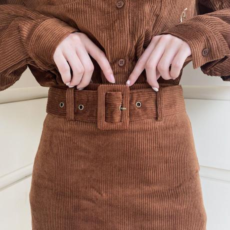 corduroy belt mini skirt brown