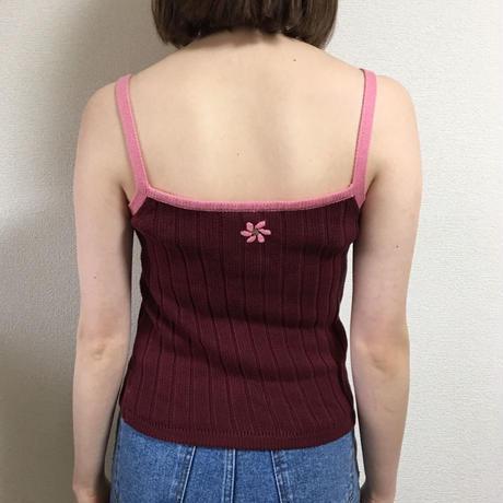 Flower design knit camisole pink