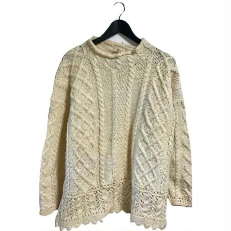 high neck cable knit ivory