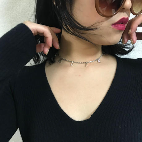 CELINE pink rhinestone logo necklace