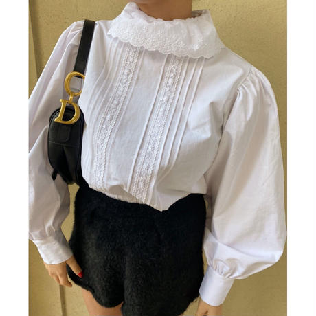 classical high neck lace blouse