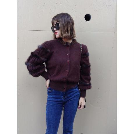mink fur mohair knit cardigan