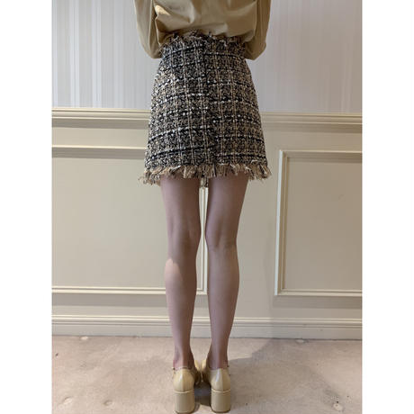 tweed double button mini skirt beige