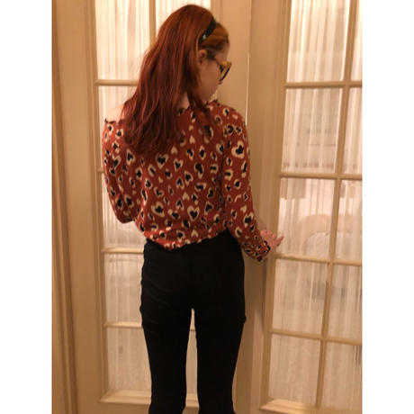 heart leopard frill piping tops rétro brown