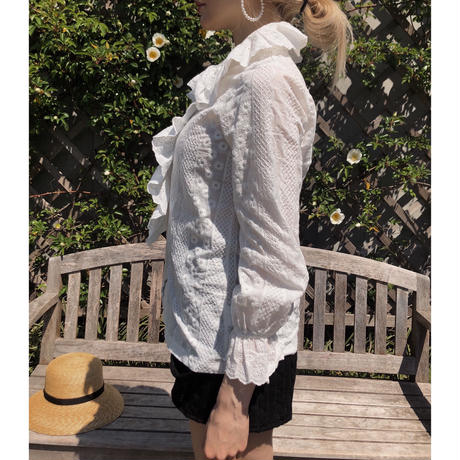 cotton lace  2way frill blouse
