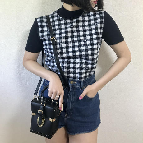courreges gingham check tops