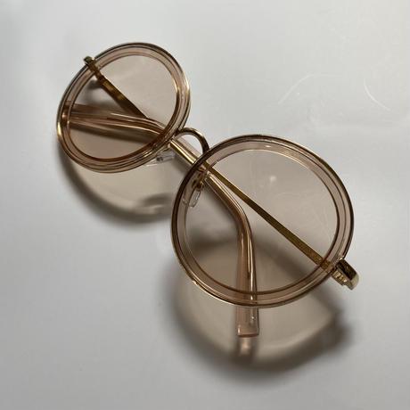 beige gold frame clear sunglasses