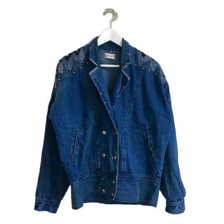 studs design denim jacket