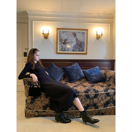 rib knit long onepiece  black