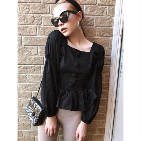 square neck pepram blouse black
