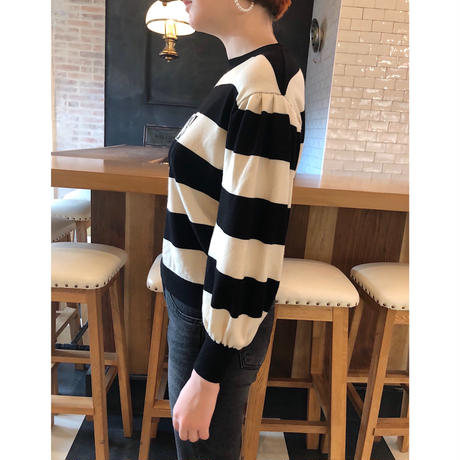 ÉPINE border arm volume knit black×ivory