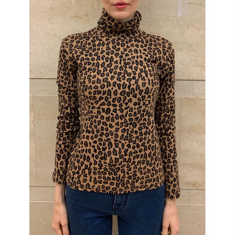 leopard high neck tops
