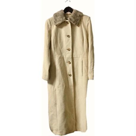 angora wool long coat cream beige