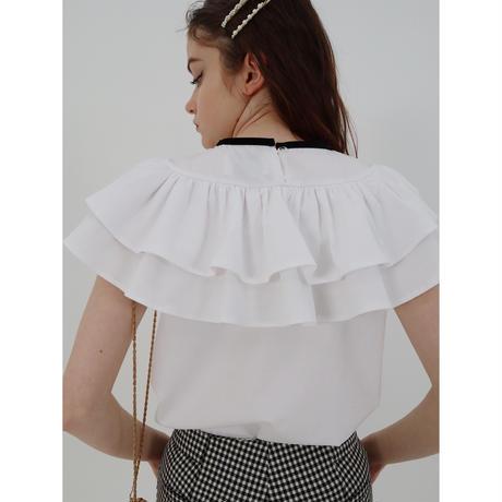 double frill ribbon blouse