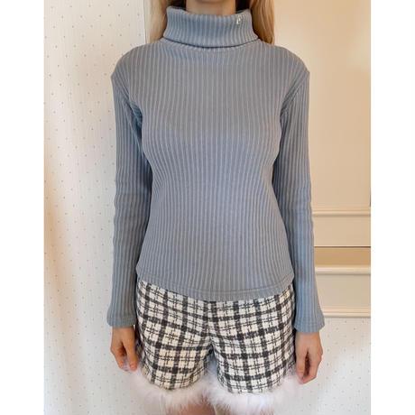 é embroidery rib knit high neck ice blue