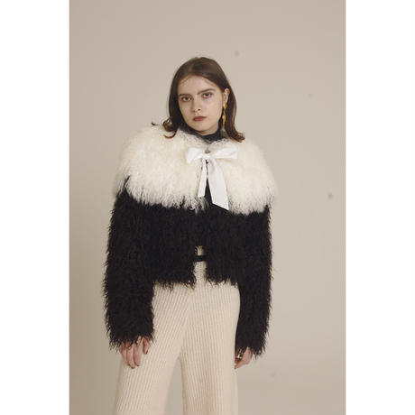 Tibet lamb volume fur stole white